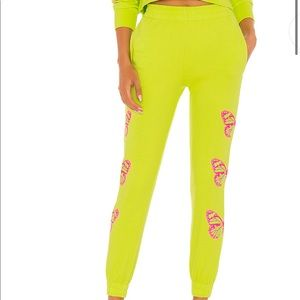 Green Sweatpants w/ pink butterflies NWT Sz M